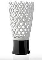 Ваза для цветов керамическая глянцевая белая/черная ажурная.
