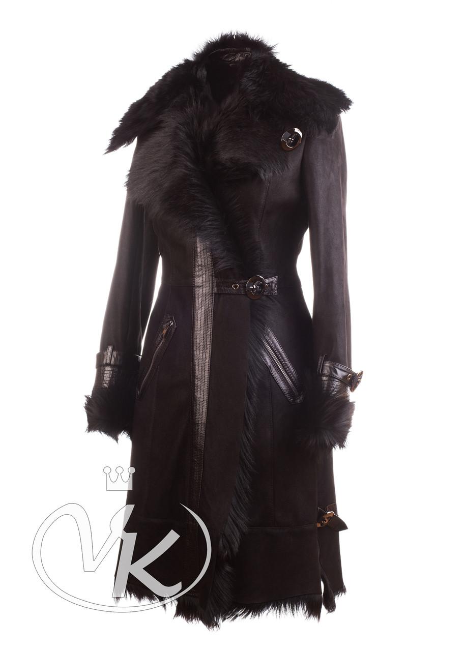 Дубленка из козы натуральная черная женская 44 размера (Арт.BA101-2)