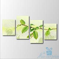 Модульная картина Зелёная ветвь из 4 фрагментов, фото 1