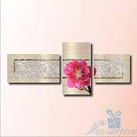 Модульная картина Розовый цветок из 3 фрагментов