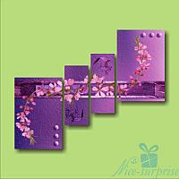 Модульная картина Розовая веточка из 4 модулей, фото 1