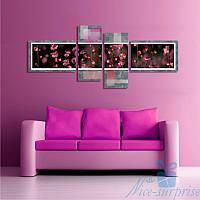 Модульная картина Розовые цветы из 4 частей