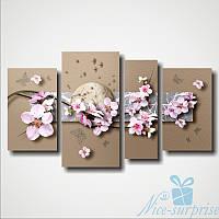 Модульная картина Сакура и бабочки из 4 фрагментов, фото 1