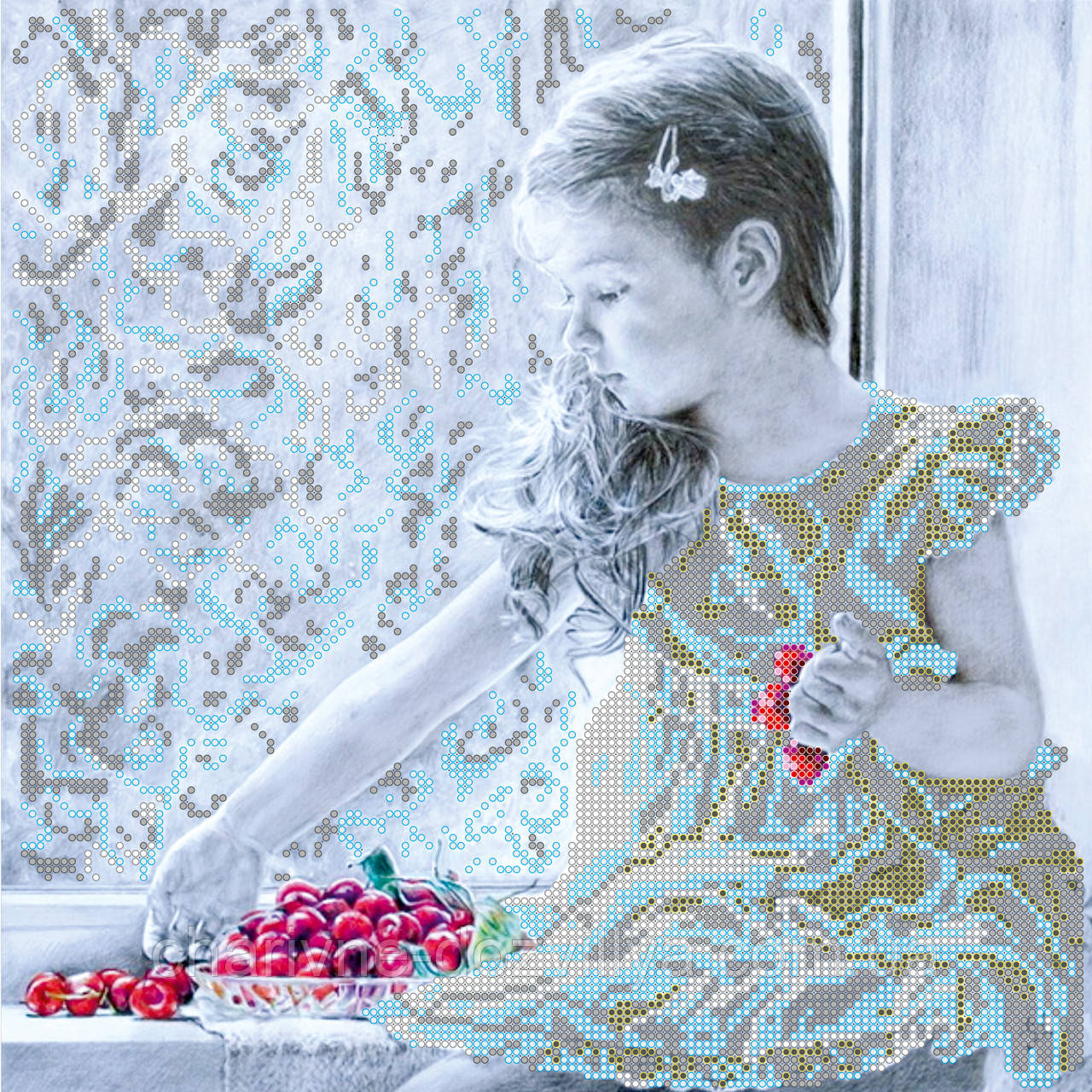 """Схема для вышивки картины бисером на художественном холсте """"Девочка и вишни"""""""