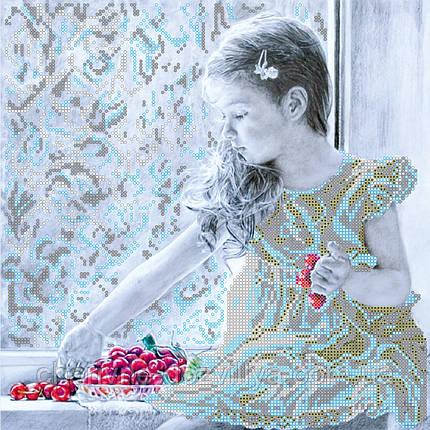 """Схема для вышивки картины бисером на художественном холсте """"Девочка и вишни"""", фото 2"""