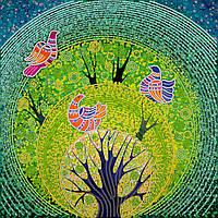 """Схема для вышивки бисером на художественном холсте """"Райские птички"""""""