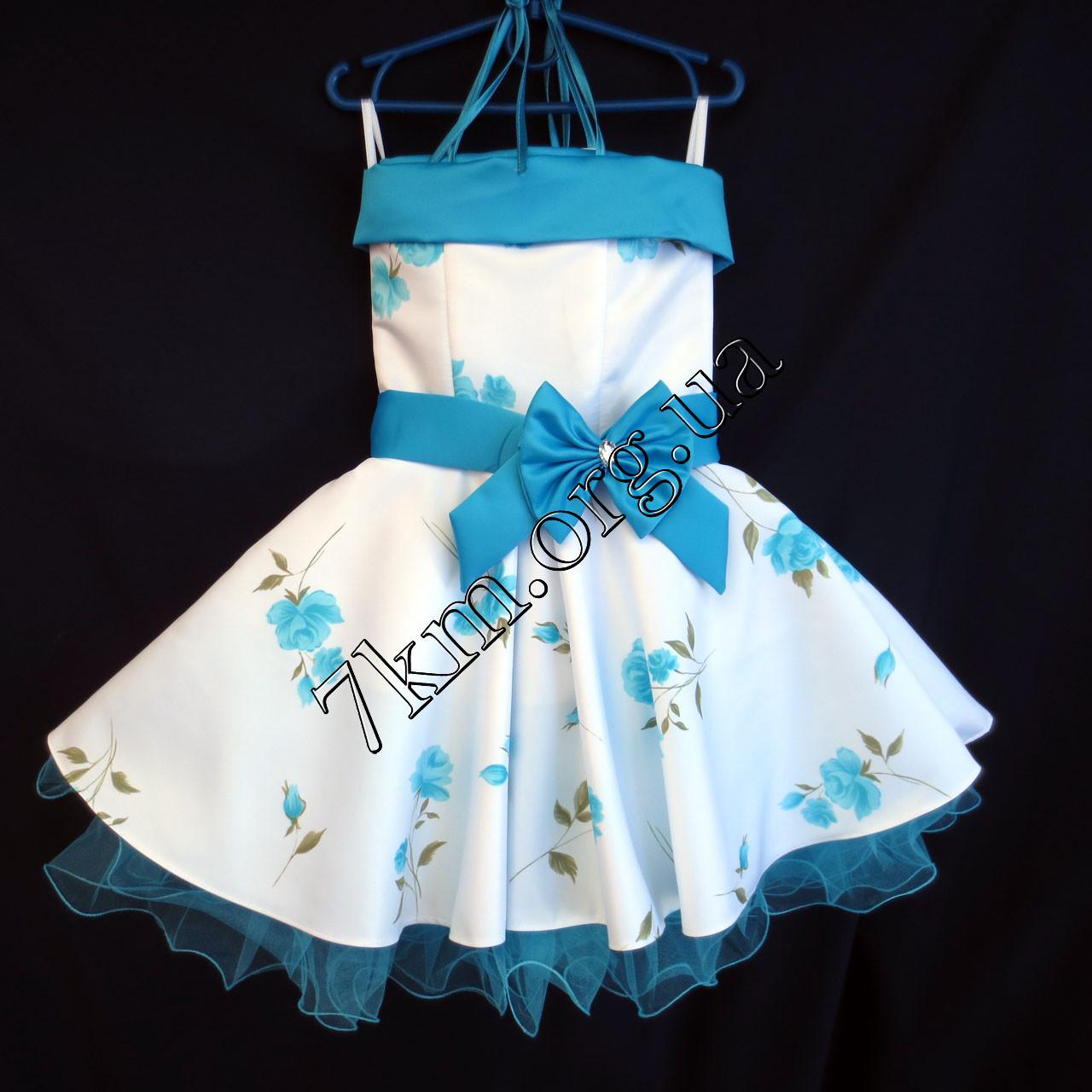 Платье нарядное бальное детское Нежная роза 6 лет белое с голубым Украина оптом.