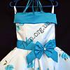 Платье нарядное бальное детское Нежная роза 6 лет белое с голубым Украина оптом., фото 2