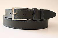Ремень кожаный классический 35 мм чёрный с синей ниткой