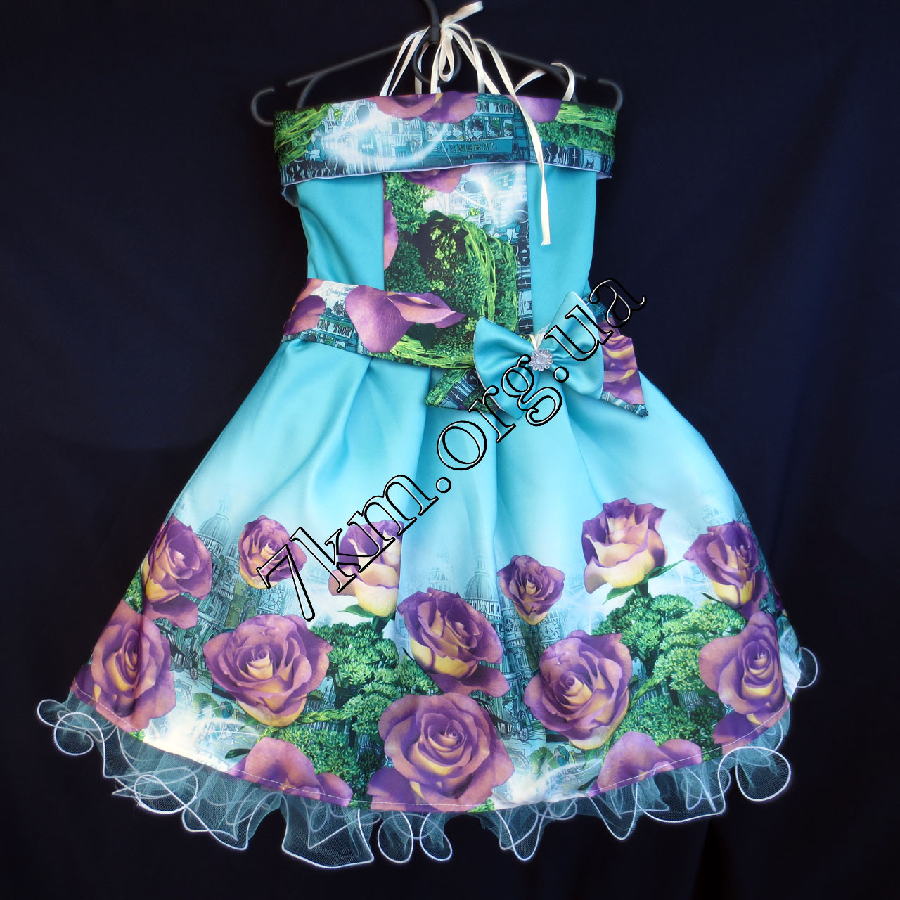 Платье нарядное бальное детское Шикарная роза (3D- рисунок) 6 лет голубое Украина оптом.