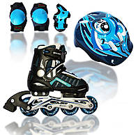 Роликовые раздвижные коньки Explore Comfort Flex Combo (Amigo Sport) синий