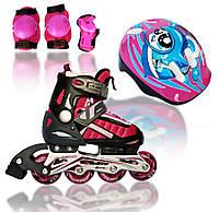 Роликовые раздвижные коньки Explore Comfort Flex Combo (Amigo Sport) розовый