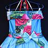 Платье нарядное бальное детское Шикарная роза (3D- рисунок) 6 лет голубое Украина оптом., фото 2