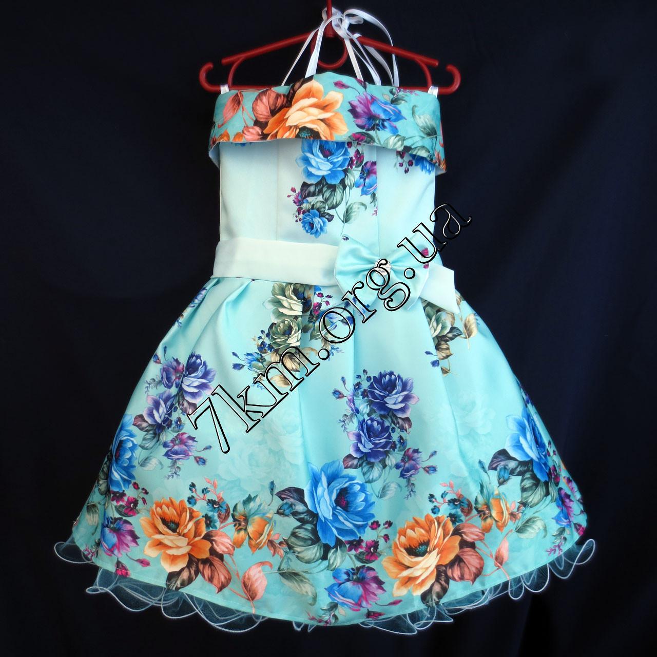 Платье нарядное бальное детское Пионы (3D- рисунок) 6 лет светло голубое Украина оптом.