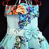 Платье нарядное бальное детское Пионы (3D- рисунок) 6 лет светло голубое Украина оптом., фото 2