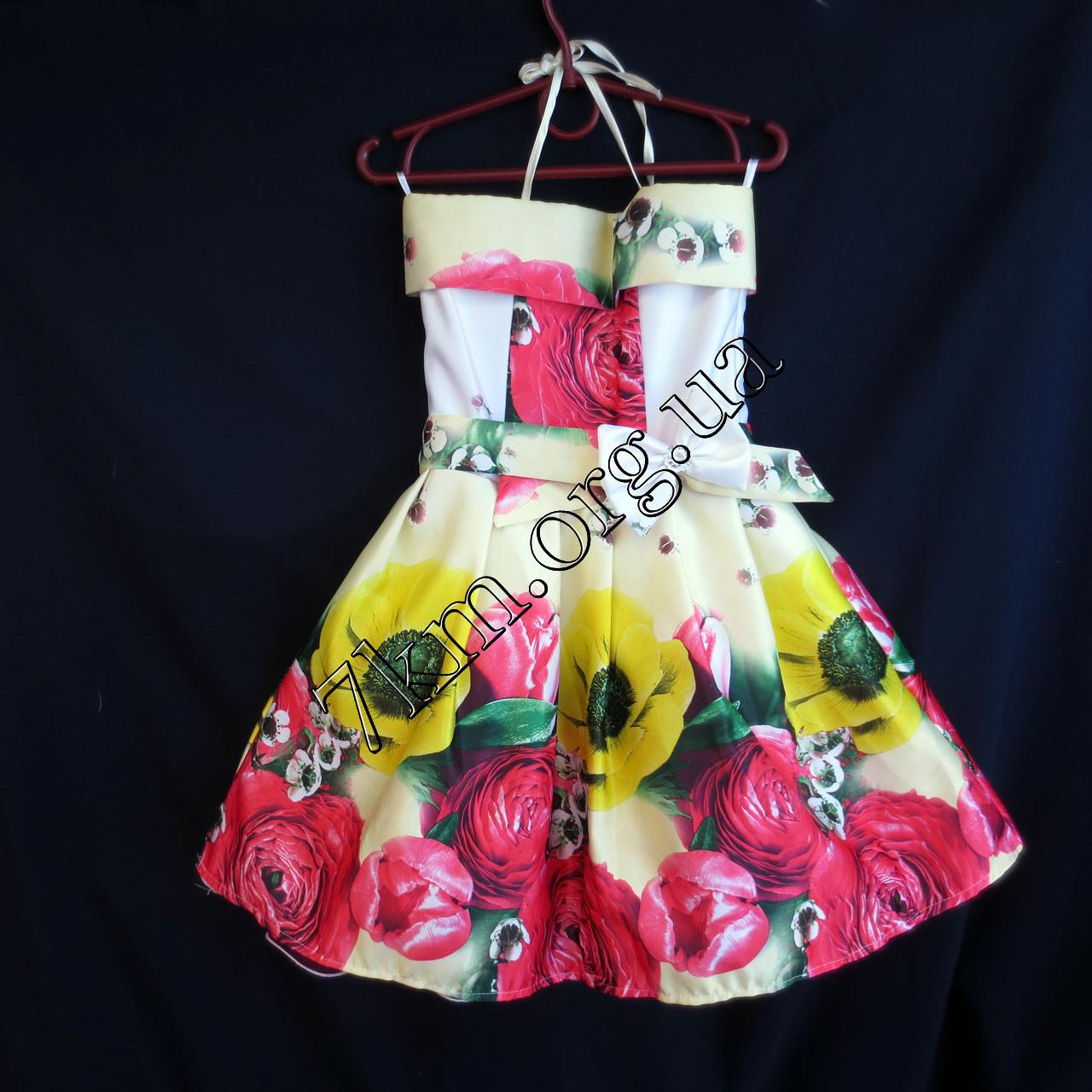 Платье нарядное бальное детское Мак и Пион (3D- рисунок) 6 лет светло желтое Украина оптом.