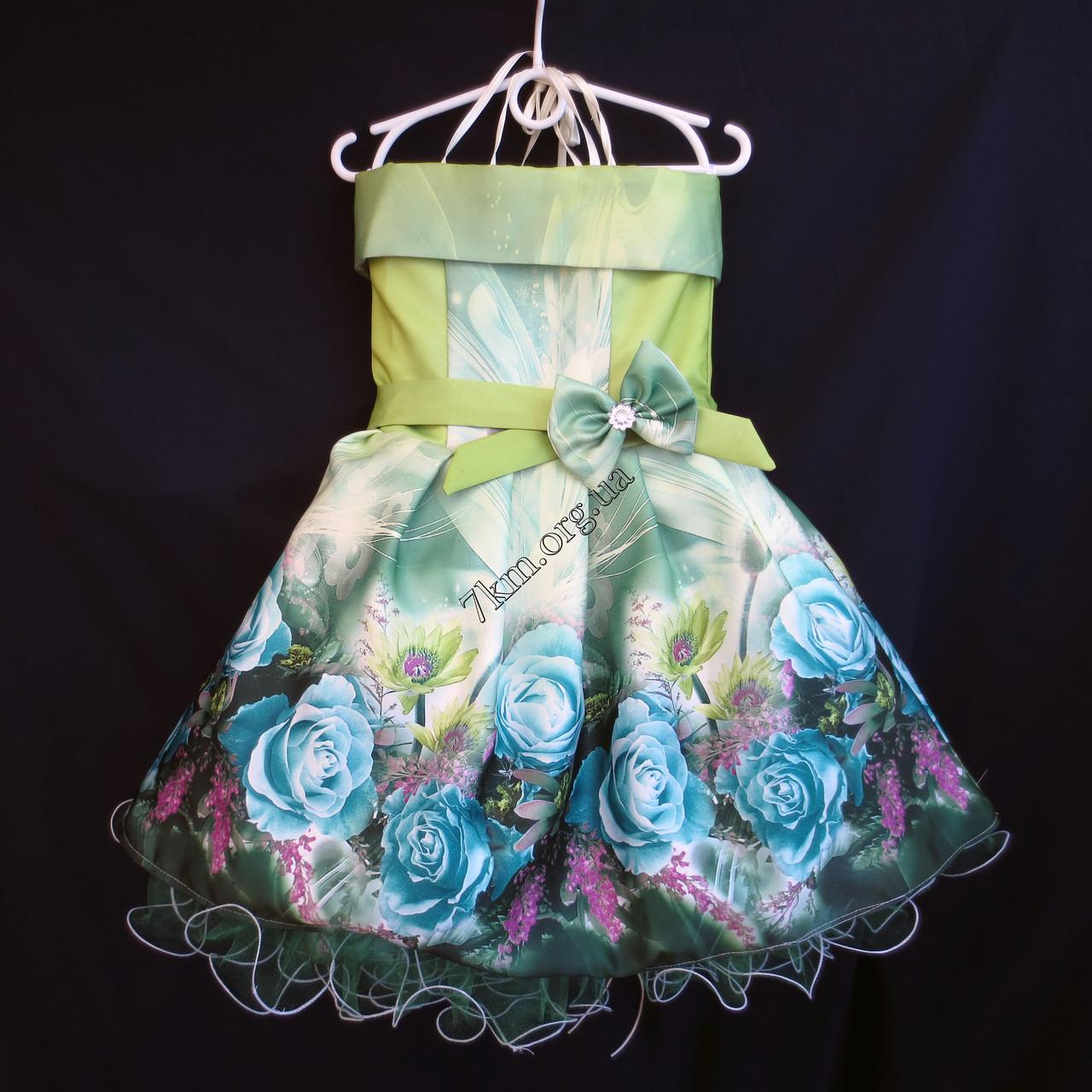 Платье нарядное бальное детское Шикарная роза (3D- рисунок) 6 лет салатовое Украина оптом.