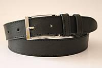 Ремень кожаный классический 35 мм чёрный с чёрной ниткой