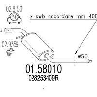 Глушитель выхлопных газов средний MTS 01.58010
