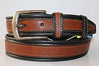 Ремень кожаный комбинированый черный коричневая вставка по всей длине текстура свинная кожа пряжка матовая