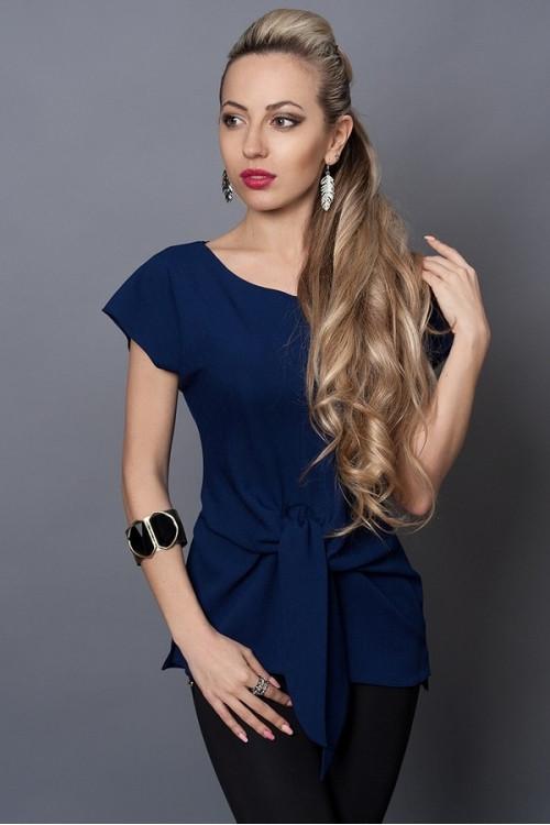 Стильная летняя синяя блуза из льна
