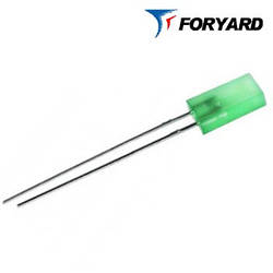 Светодиод зеленый 5x2mm. FYL-2513 GD  20mсd (570nm) прямоугольный, диффузный, 120° FORYARD