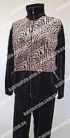Женский велюровый спортивный костюм большого размера с леопардовым принтом