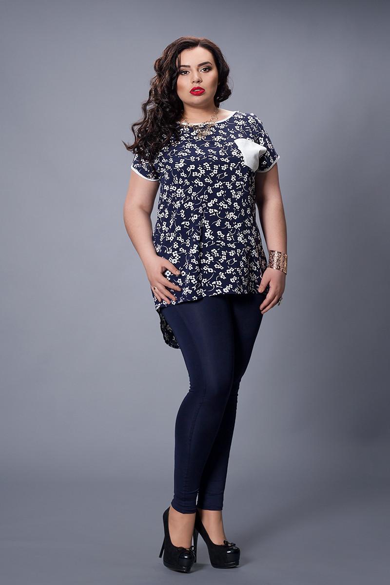 Блуза  мод 503-1 размер 48-50,52-54 темно-синее