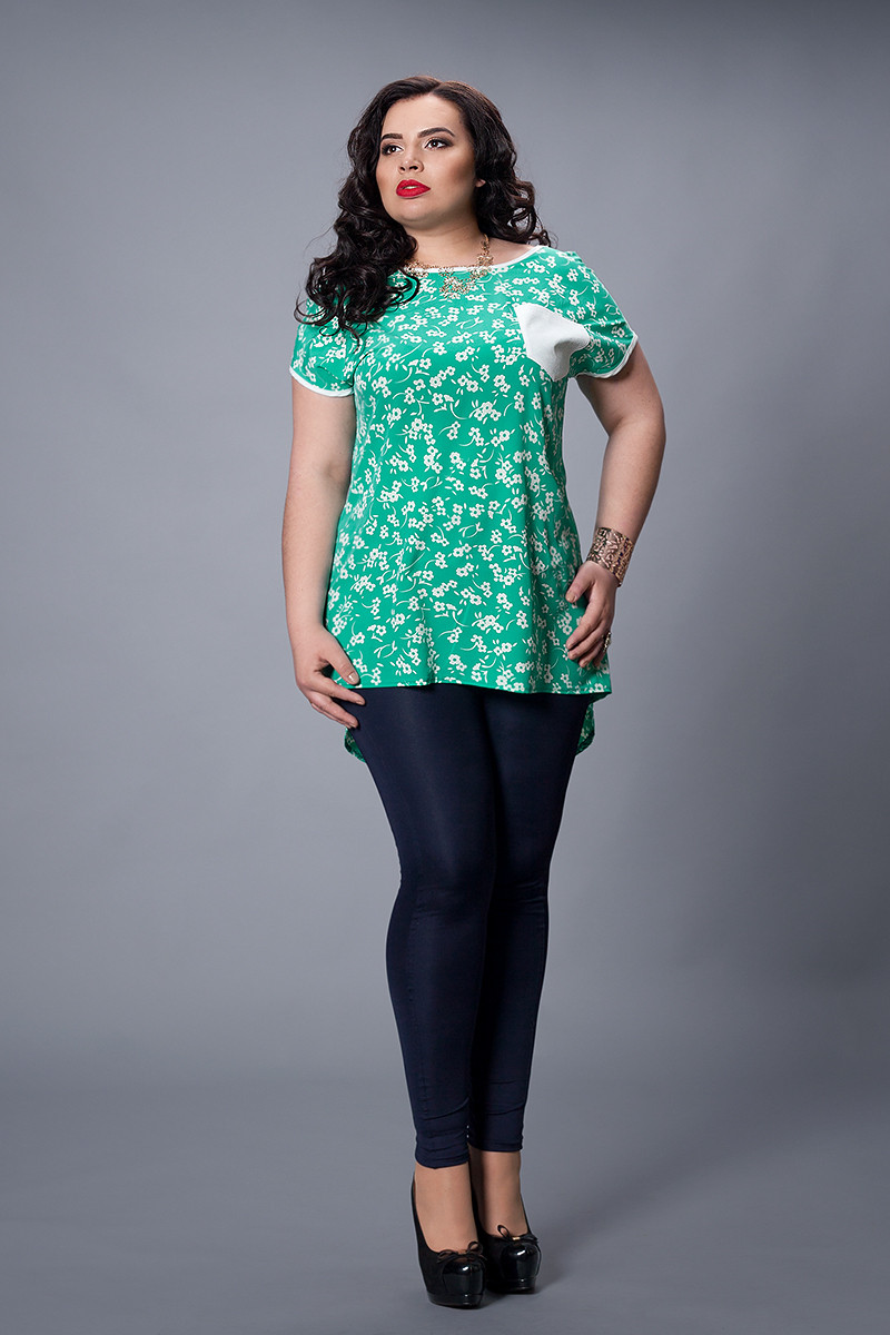 Блуза мод 503-2 розмір 48-50,50-52,52-54,54-56 бірюза
