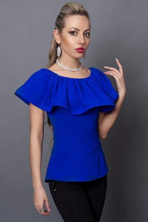 Молодежная синяя блуза с пуговицами на спине