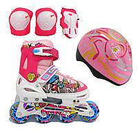 Роликовые коньки Explore Rooney Combo (Amigo Sport), шлем и защита в комплекте розовый