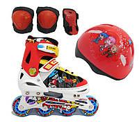 Роликовые коньки Explore Rooney Combo(Amigo Sport), шлем и защита в комплекте красный