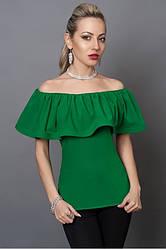 Молодежная зеленая блуза с пуговицами на спине