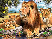 Алмазная мозаика на подрамнике Семейство львов 40 х 50 см (арт. TN675)