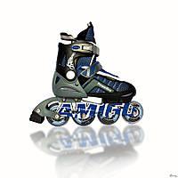 Роликовые коньки Power Flex Amigosport синий