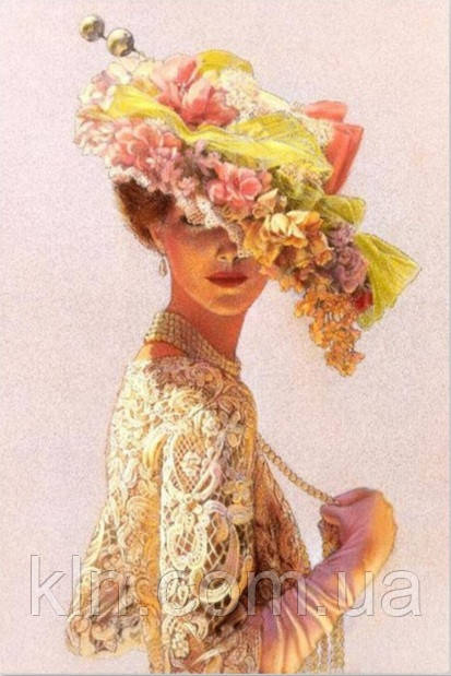 Алмазная вышивка Дама с шляпой KLN 30 х 20 см (арт. FS163) полная выкладка
