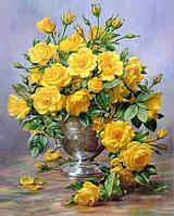 Алмазная вышивка Желтые розы KLN 25 х 20 см (арт. FS164) полная выкладка