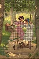 Схема для вышивания бисером Девочки на качелях КМР 4169
