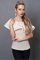 Молодежная молочная блузка с пуговицами на спине