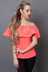 Молодежная коралловая блузка с пуговицами на спине