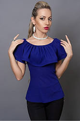 Молодежная синяя блузка с пуговицами на спине