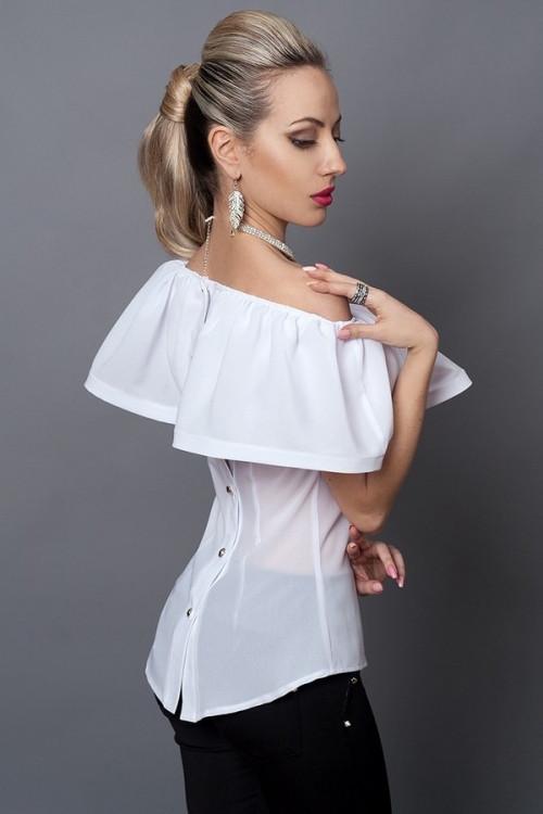 Молодежная белая блузка с пуговицами на спине