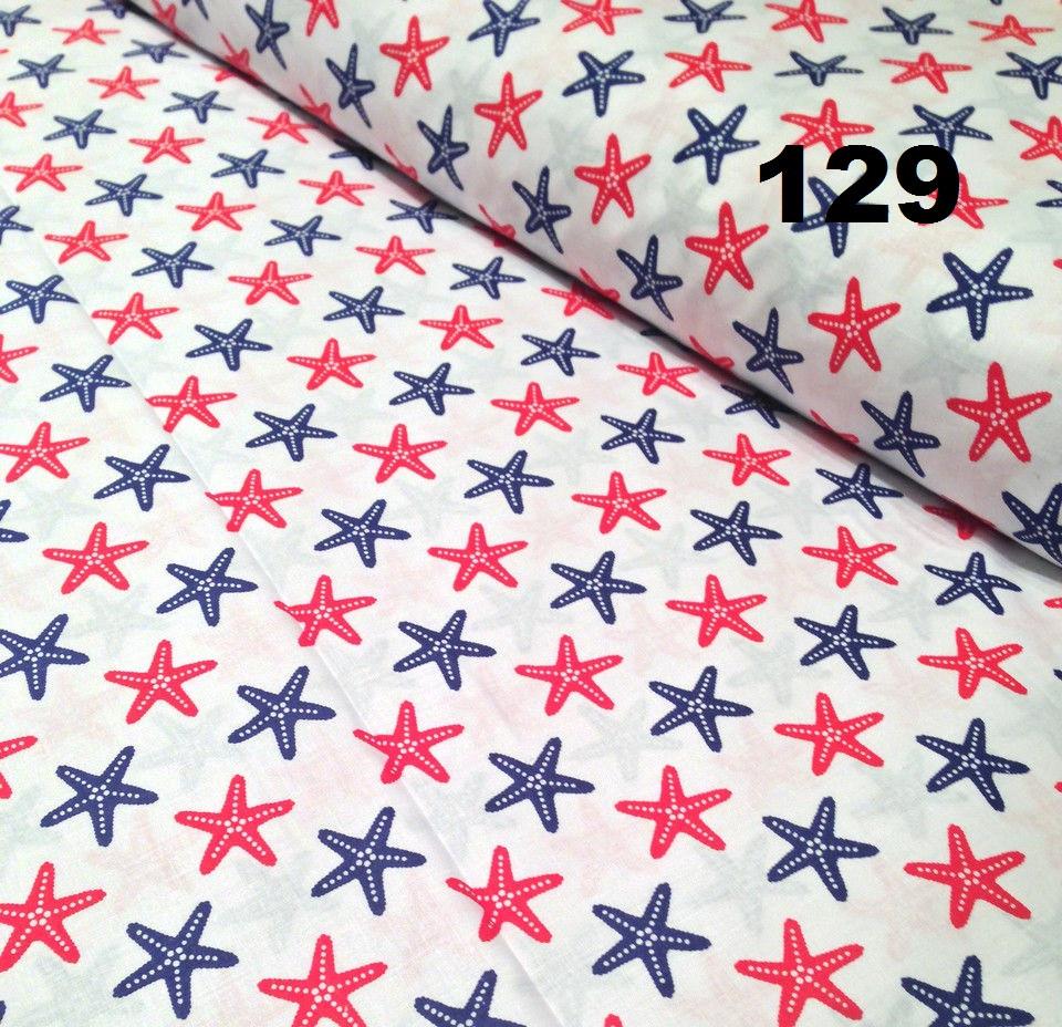 Ткань хлопковая с красными с синими морскими звездами №129