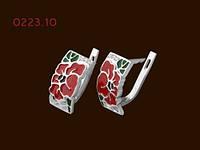 Серебряные серьги Красный Мак