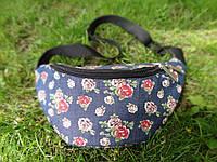 Поясная джинсовая сумка с розочками, фото 1