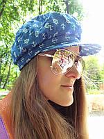 Джинсовая кепка с якорями, фото 1
