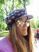 Джинсовая кепка с розочками, фото 1