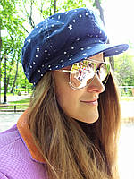Джинсовая кепка со звездами, фото 1