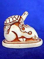 Нэцкэ Крыса с черепахой гипсовая