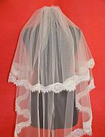 Свадебная фата с кружевом расшитым бисером sf-164